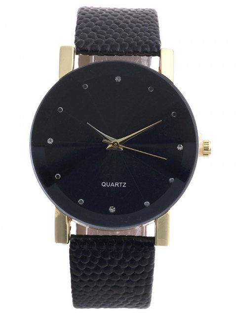 chic Snakeskin Pattern Faux Leather Analog Watch - BLACK  Mobile