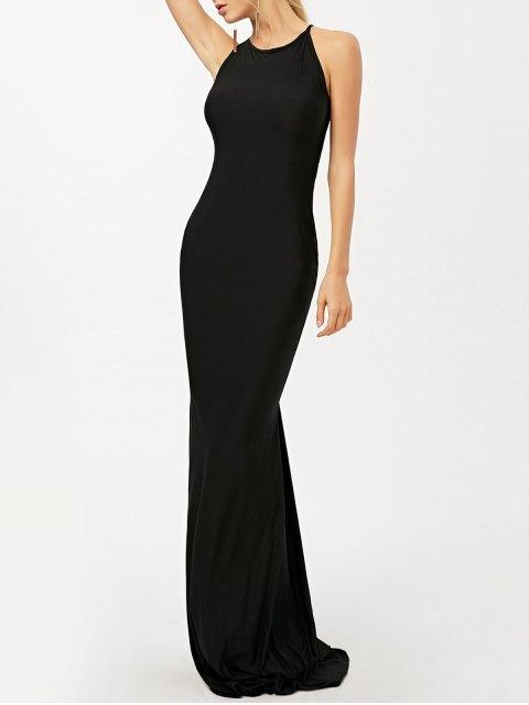 sale Criss Cross Ruched Trumpet Maxi Dress - BLACK S Mobile