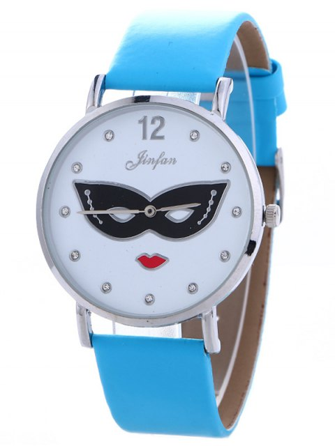 womens Rhinestone Mask Faux Leather Quartz Watch - BLUE  Mobile