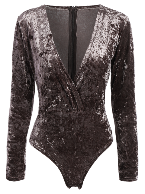 womens Plunging Neck Velvet Long Sleeve Bodysuit - COFFEE BROWN M Mobile