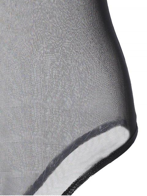 trendy Embroidered Floral Sheer Bodysuit - BLACK S Mobile
