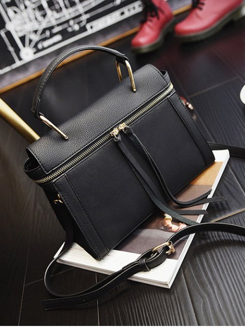 outfits Zip Around Faux Leather Handbag - BLACK  Mobile