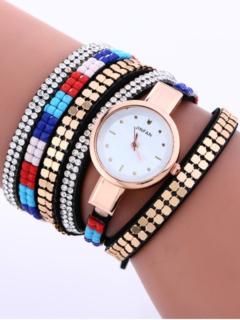 ladies Layered Studded Bracelet Watch - BLACK  Mobile