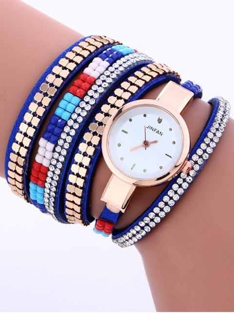 hot Layered Studded Bracelet Watch - BLUE  Mobile