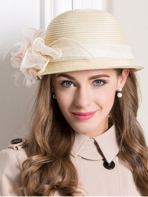 online Feather Flax Band Straw Hat - BEIGE  Mobile