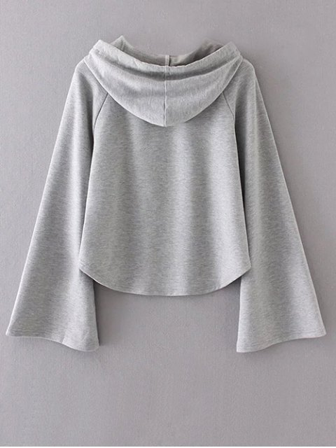 ladies Slouchy Flare Sleeve Pullover Hoodie - GRAY M Mobile