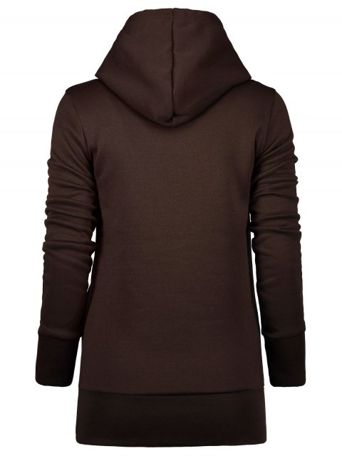 fancy Badge Patch High Neck Drawstring Hoodie - COFFEE L Mobile