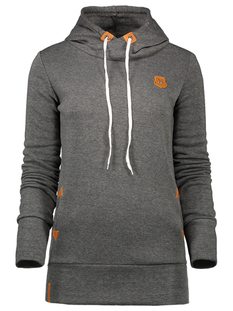 lady Badge Patch High Neck Drawstring Hoodie - DEEP GRAY S Mobile