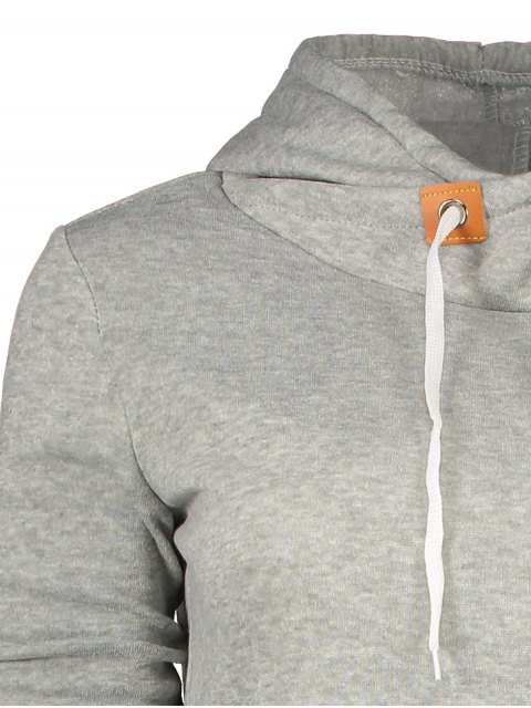 affordable Badge Patch High Neck Drawstring Hoodie - LIGHT GRAY M Mobile