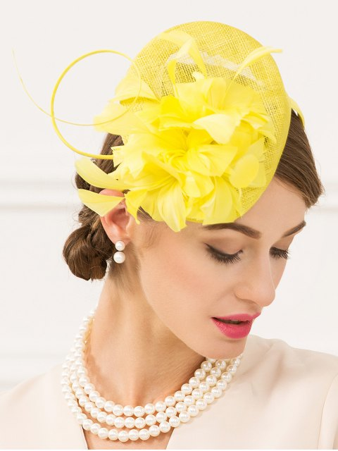 hot Flax Fascinator Hairband Pillbox Hat -   Mobile