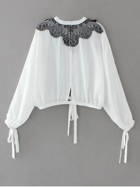 chic Contrast Lace Bow Tie Top - WHITE M Mobile