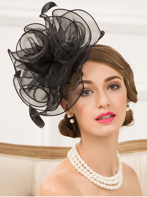 outfit Organza Fascinator Hairband Hat - BLACK  Mobile