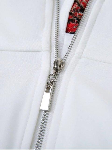 women's Floral Applique Low Cut Mini Dress - WHITE L Mobile