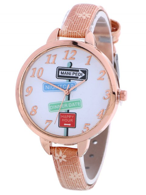 best Faux Leather Guidepost Pattern Quartz Watch - PINK  Mobile