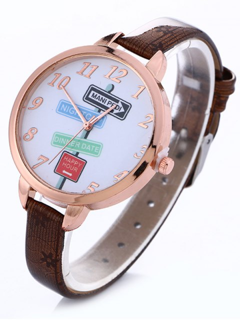 outfit Faux Leather Guidepost Pattern Quartz Watch - BROWN  Mobile