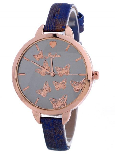 latest Faux Leather Butterfly Quartz Watch - BLUE  Mobile