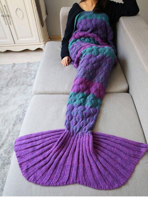 online Fish Scale Crochet Yarn Mermaid Blanket Throw - PURPLE  Mobile