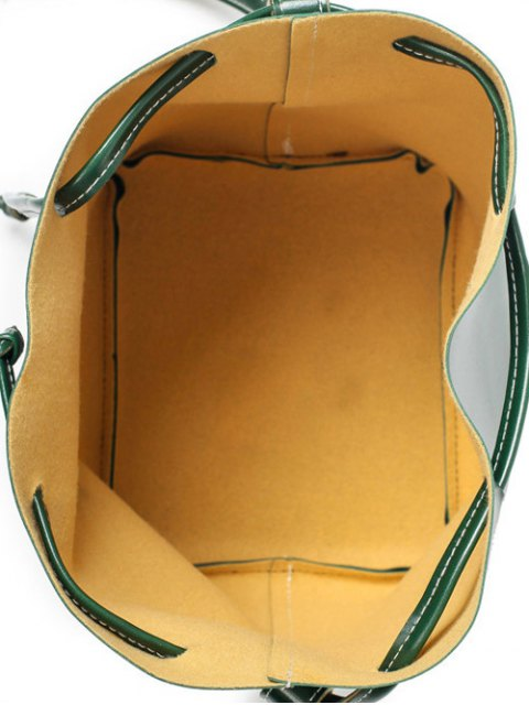 fashion Buckle Strap Faux Leather Backpack Set - GREEN  Mobile