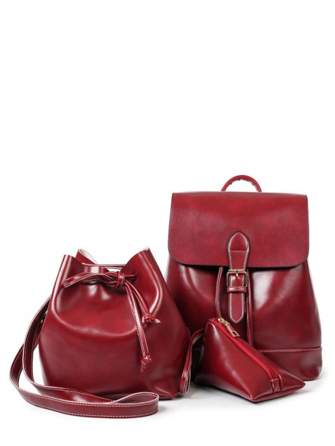 fancy Buckle Strap Faux Leather Backpack Set -   Mobile