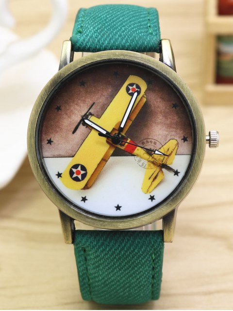 buy Cartoon Airplane Quartz Watch - GREEN  Mobile