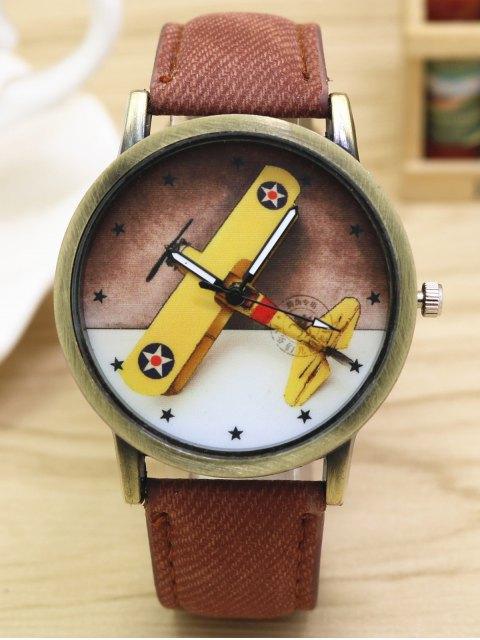 women Cartoon Airplane Quartz Watch - COFFEE  Mobile