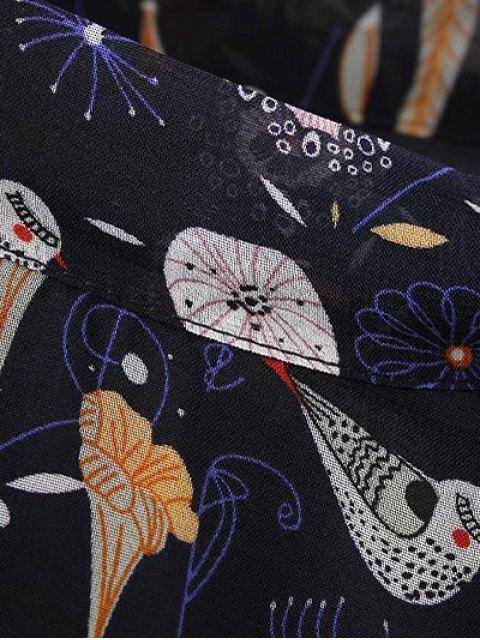 shops Printed High Collar Chiffon Flowing Dress - PURPLISH BLUE L Mobile
