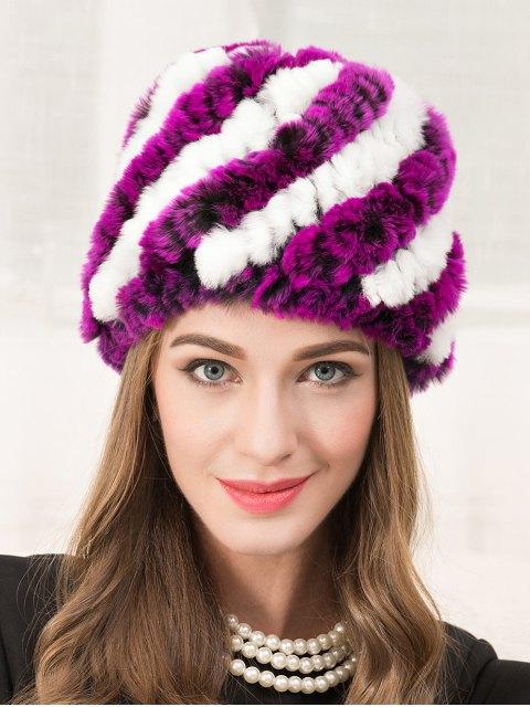 latest Wrasse Rabbit Hair Striped Hat - VIOLET ROSE  Mobile