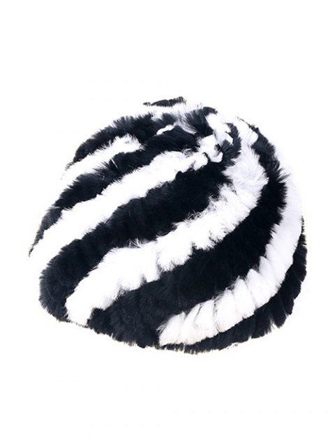 trendy Wrasse Rabbit Hair Striped Hat - BLACK  Mobile