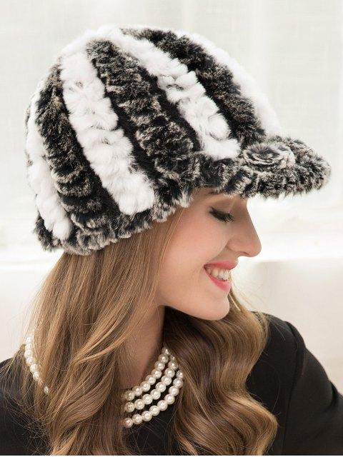 fashion Wrasse Rabbit Hair Stripy Baseball Cap - GRAY  Mobile