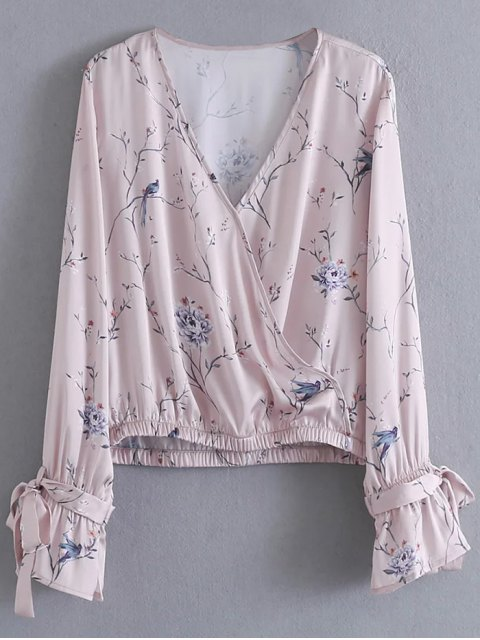 shops Belted Cuff Surplice Satin Printed Top - PALE PINKISH GREY S Mobile