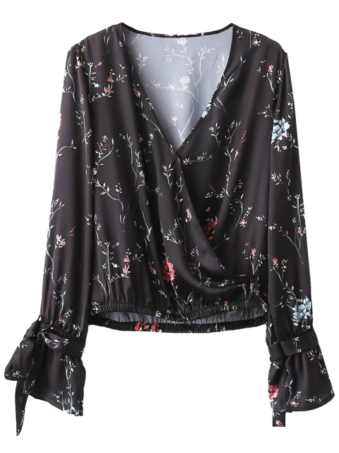 fashion Belted Cuff Surplice Satin Printed Top - BLACK S Mobile
