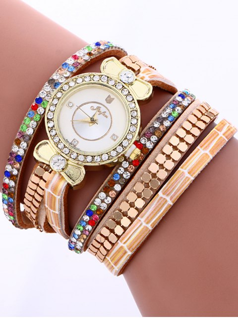 outfit Layered Studded Analog Bracelet Watch - COFFEE  Mobile