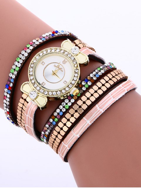 new Layered Studded Analog Bracelet Watch - BROWN  Mobile
