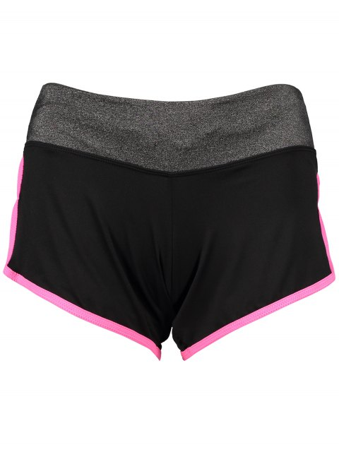 womens Elastic Piped Running Shorts - ROSE RED L Mobile