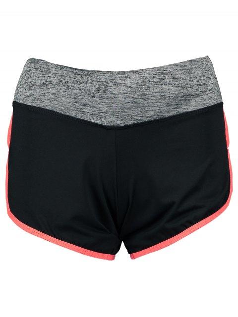 lady Elastic Piped Running Shorts - ORANGE RED M Mobile