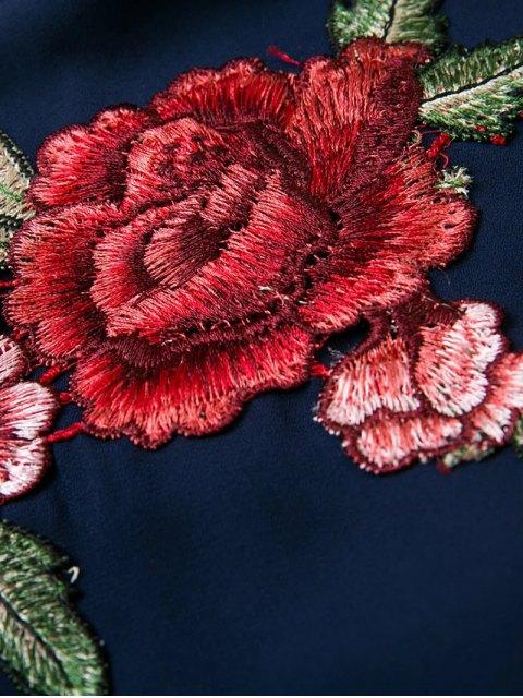 chic Embroidered Surplice Cami Romper - BLACK M Mobile