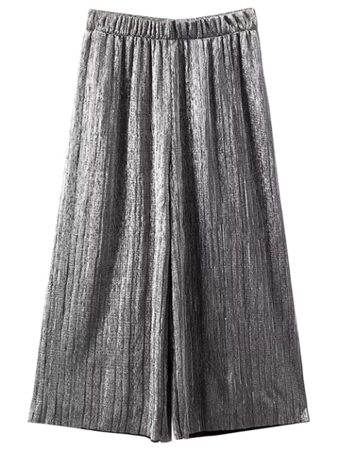 affordable Pleated Glitter Culotte Capri Pants - SILVER S Mobile