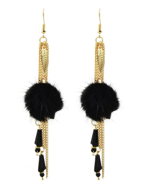 affordable Fuzzy Ball Leaf Chain Earrings - BLACK  Mobile