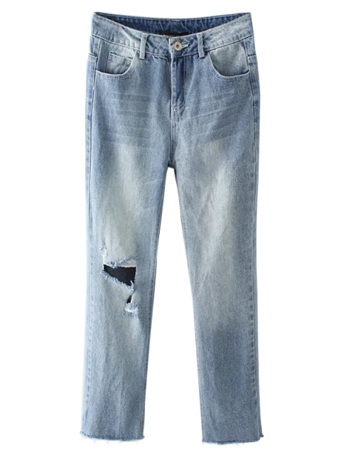 buy Light Wash Distressed Denim Pants - LIGHT BLUE S Mobile