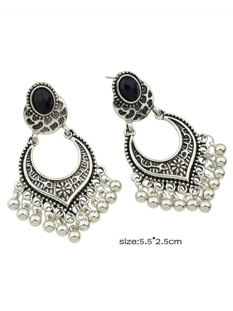 women's Bead Tassel Drop Earrings - SILVER  Mobile