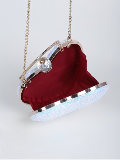 unique Metal Handle Heart Shape Rhinestones Evening Bag - BLUE  Mobile