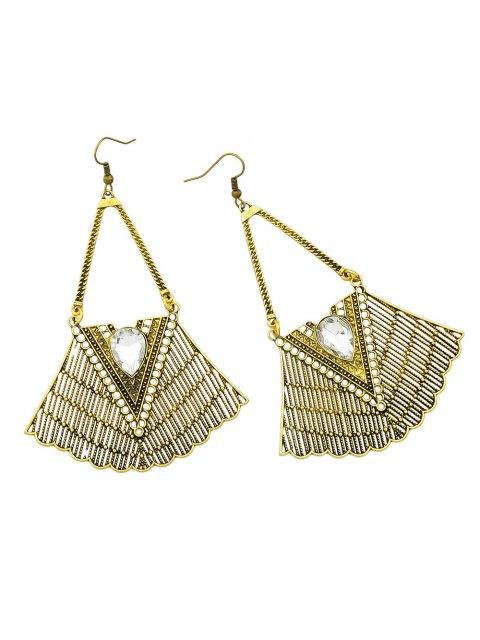 ladies Faux Gemstone Geometric Vintage Drop Earrings - GOLDEN  Mobile