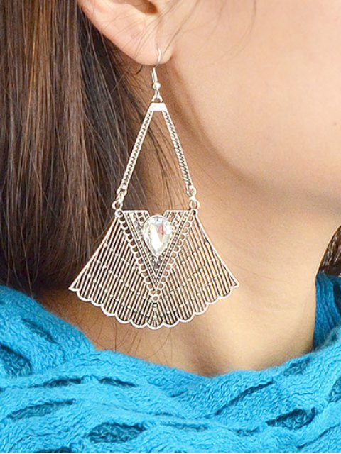 lady Faux Gemstone Geometric Vintage Drop Earrings - SILVER  Mobile
