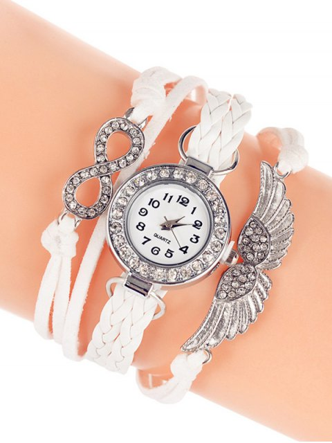 womens Layered Braided Quartz Bracelet Watch - WHITE  Mobile