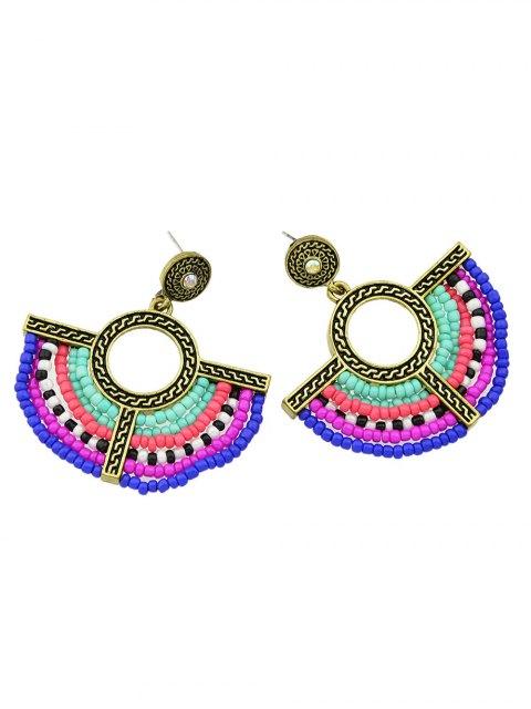 online Bohemian Circle Beads Drop Earrings - GOLDEN  Mobile