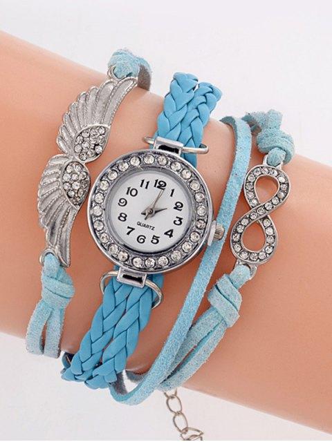 women's Layered Braided Quartz Bracelet Watch - AZURE  Mobile