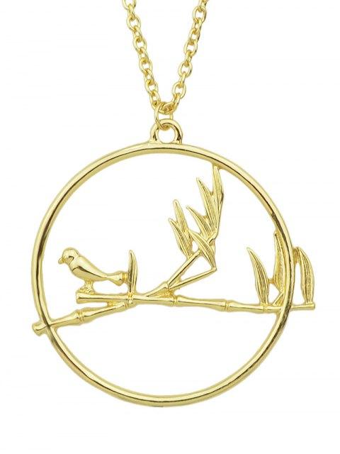 outfits Circle Bird Pendant Necklace - GOLDEN  Mobile