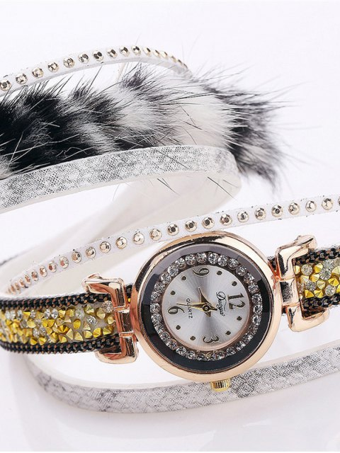 new Layered Studded Faux Fur Bracelet Watch - WHITE  Mobile