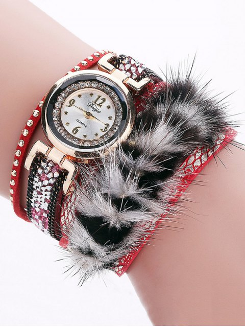 hot Layered Studded Faux Fur Bracelet Watch - RED  Mobile
