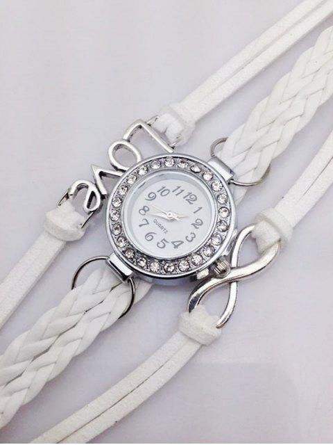 trendy Love Braided Quartz Bracelet Watch - WHITE  Mobile